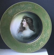 Rosenthal porcelain handpainted portrait dish in Vienna style
