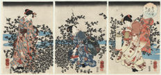 Important collection of portraits of Geisha girls - Japanese Art Triptych Prints (12)