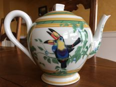 "Hermes, Paris Porcelain - ""Toucans"" Tea/Coffee Pot"