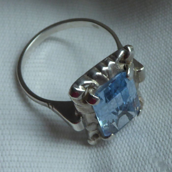 Antique Silver Art Deco Ring With A Light Blue Stone