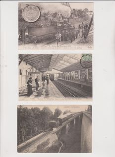 Superb lot of 50 old postcards with trains, stations and tramways, very animated
