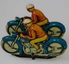 Niedermeier, Germany - length: 16 cm. - Very Rare Tin Toy Twin Duo Motorcycle, 1950's