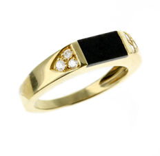 Fragment of the Moon mounted on a golden ring with diamonds - 4.23 g