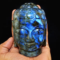 Blue Flash Labradorite Buddha Head - 100x53x48 mm - 2620.50 Cts
