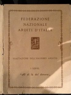 "Collection of 10 postcards of the National Federation ""Arditi D'Italia"" illustrated by V. Pisani"