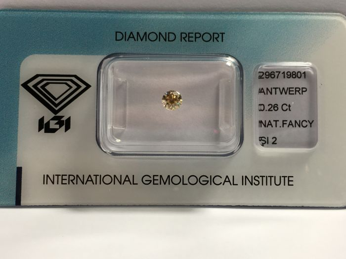 Brilliant cut diamond 0.26 ct  NATURAL FANcY yellow brown SI2