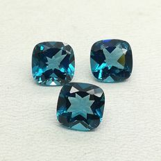 Set of London Blue Topazes, 7.63 ct (Total)
