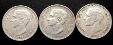 Spain - Alfonso XII - 5 Pesetas year 1875 *-75 + 1876 *-76 + 1877 *18-77 - 3 Coins - Silver.