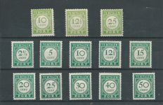 Curaçao 1945/1948 - Postage Due in yellow green 'English Print' and Number in dark green - NVPH P31/P33 + P34/P43