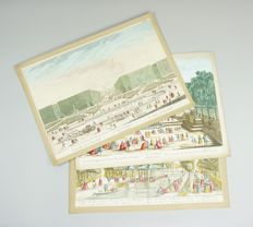 England, London; Daumont/Canaletto - 3 optica prints; Gardens in London - c. 1760