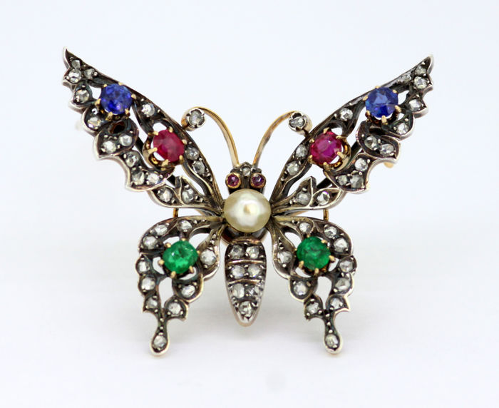 Other - 15 kt. Gold, Silver - Brooch Mixed