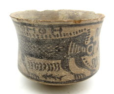 Indus Valley Painted Terracotta Bowl with Monkey Motif - 96x76mm