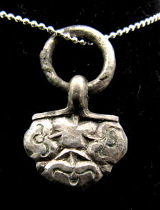 Medieval Viking Period Silver Floral Pendant with Ring - Free Necklace - 28 mm