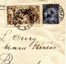 Great Britain King George V 1920 - Seahorse Air Mail Express cover to Belgium