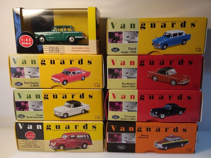 Vanguards - Scala 1/43 - Lotto con 8 modelli: Triumph, Sunbeam, Morris & Ford