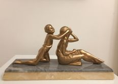 Art Deco Spelter sculpture - Lady and child
