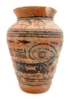 Indus Valley Painted and Terracotta Jar depicting Deer -  95x140 mm
