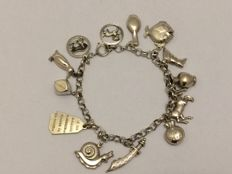 835 Silver charm bracelet with 13 charms - length 21 cm