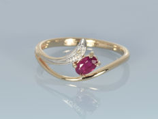 Gold 14 kt Ring Ruby Diamond Size 55 (ø 17.5 mm) • No reserve price •