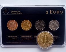 Slovakia - 2 euro 2014 'Precious Metals' (4 different ones in set) ennobled + medal 'BitCoin'