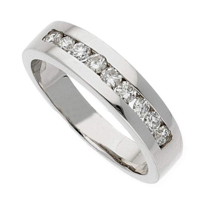 750/1000 (18 kt) white gold - brilliant cut diamonds 0.50 ct - ring size 13 (ES)