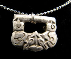 Medieval Viking Period Silver Griffin Pendant  - Free Necklace - 17 mm