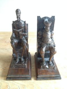 Book objects; Set of wooden bookends of Don Quixote & Sancho Panza - mid 20th century