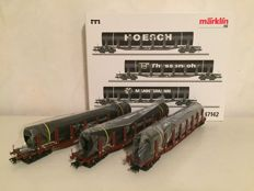 Märklin H0 - 47142 - Freight carriage: 3-piece set of double stake cars Snps 719 of the DB