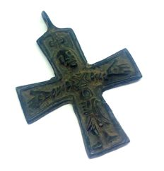 Early medieval Scandinavian bronze cross with a pseudo graphic image of Jesus Christ - 48х35 mm
