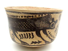Indus Valley Painted Terracotta Bowl with Monkey Motif - 101x70mm