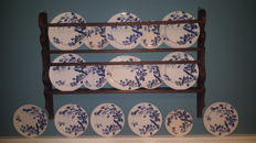 Rathbone, Smith & Co, Staffordshire, Blackberry pattern - blue and white transfer printed pottery plates