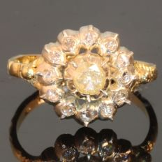 Elegant 19th century Dutch reproduction ring in gold and silver set diamonds - 1960