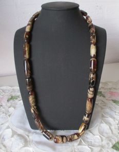Cognac and cream coloured Amber necklace from Sumatra, weight 49 g,
