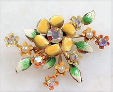 Signed Coro - A. KATZ - Floral Brooch - 1940/50s