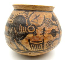 Indus Valley Painted Terracotta Jar with Bull Motif - 117x93mm