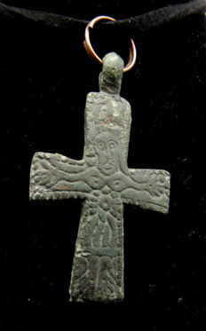 Medieval Bronze Cross Pendant with Pseudo Jesus - Free Necklace - 39x23 mm