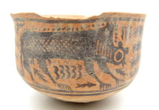 Indus Valley Painted Terracotta Bowl with Monkey Motif - 120x81mm
