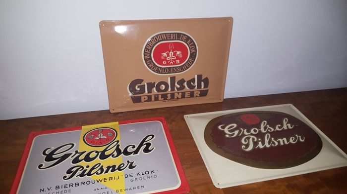 3 GROLSCH Pilsener advertising signs 80/90
