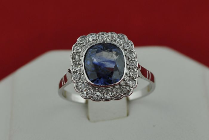 "Authentic Circa 1920's Antique Cushion Cut Sapphire (+/-2.50-3.00CT) with 20 Diamonds (Tot.+/-0.60CT) set on 18k White Gold ""Lady-D"" Ring - E.U Size 53*Re-sizable"