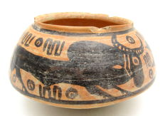 Indus Valley Painted Terracotta Jar with Bull Motif - 140x70mm