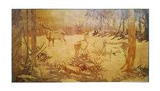 Wood inlay picture - grazing young deer