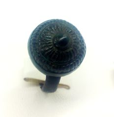 Medieval bronze ring is decorated  18 mm