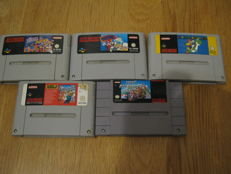 5 Snes Mario games. Games like: Mario is Missing + Dr. Mario + Super mario world + Mario Kart (NTSC)