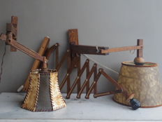 Unknown designer - Lot of 3 wooden wall lights, including a teak harmonica lamp.