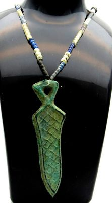 Medieval Viking Necklace with Glass, Stones and Bronze Sword Pendant  - 480 mm