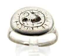 Viking Silver Seal Ring with Dragon Fafnir Motif - Wearable gift with gift bag - 19mm