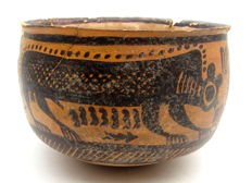 Indus Valley Painted Terracotta Bowl with Monkey Motif - 115x77mm