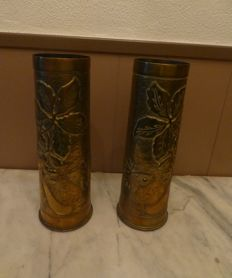 1 pair of Beautiful crafted copper shells WW1