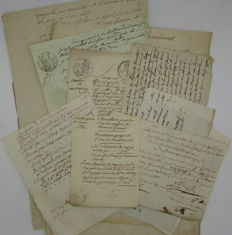 Legal documents; Lot of 12 French letters / accounts from 18th & 19th centuries - 1719/1890
