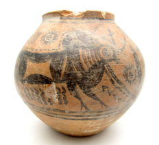 Indus Valley Painted Terracotta Jar with Bull Motif - 140x128mm
